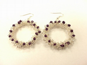 Wirework Christmas Wreath Earrings Kit with SWAROVSKI® ELEMENTS Silver and Purple